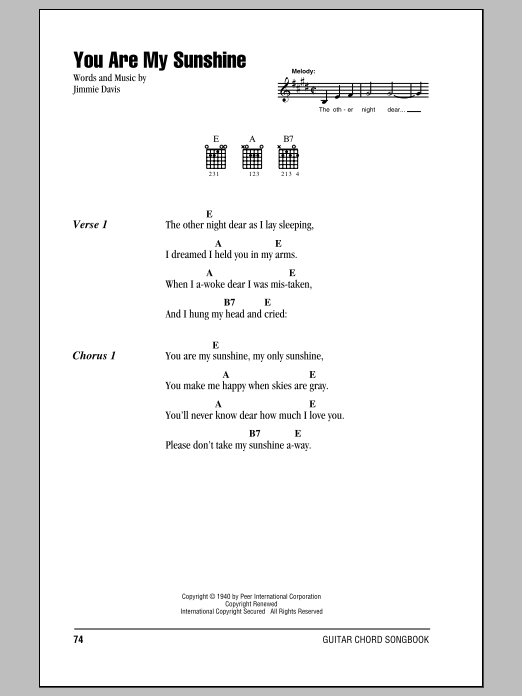 Guitar Instructor You Are My Sunshine by Jimmie Davis - Guitar Chords/Lyrics