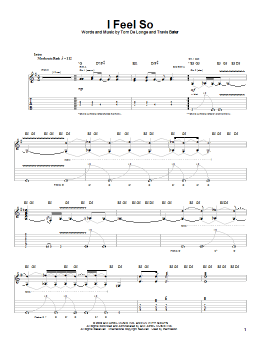 Tablature guitare I Feel So de Box Car Racer - Tablature Guitare