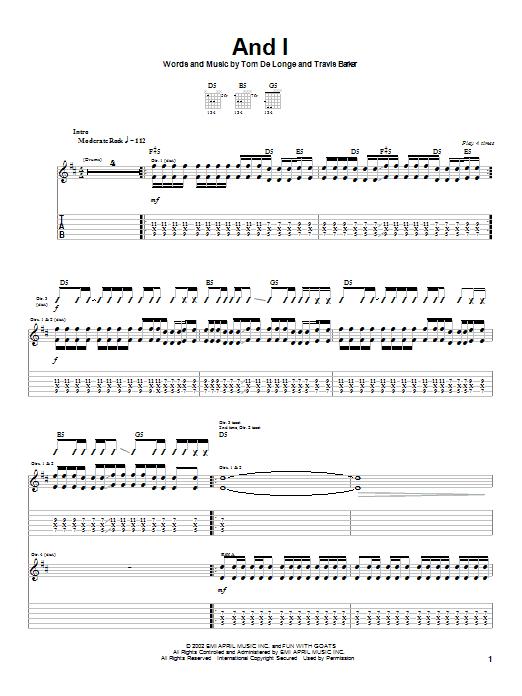 Tablature guitare And I de Box Car Racer - Tablature Guitare