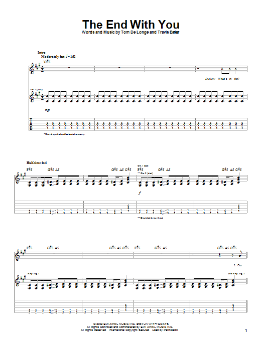 Tablature guitare The End With You de Box Car Racer - Tablature Guitare