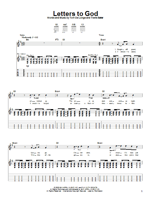 Tablature guitare Letters To God de Box Car Racer - Tablature Guitare