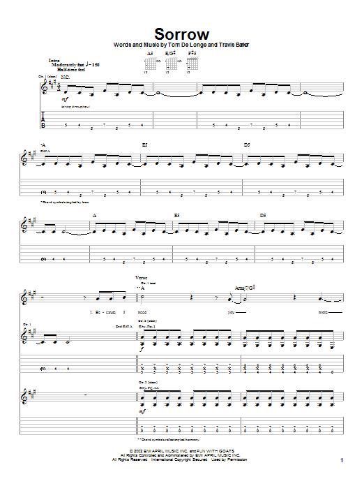 Tablature guitare Sorrow de Box Car Racer - Tablature Guitare