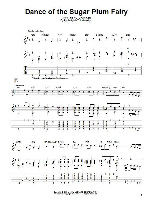 Tablature guitare Dance Of The Sugar Plum Fairy de Pyotr Il'yich Tchaikovsky - Tablature Guitare