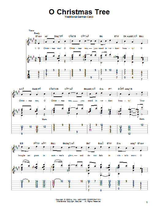 Tablature guitare O Christmas Tree de Traditional - Tablature Guitare