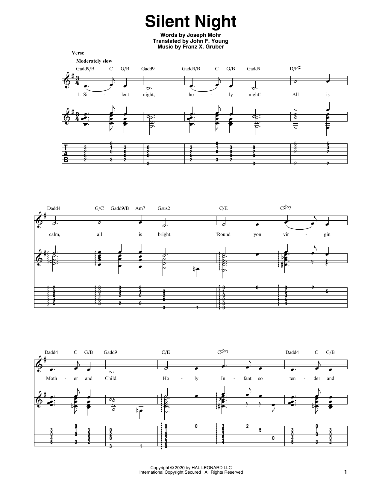Tablature guitare Silent Night de Joseph Mohr - Tablature Guitare