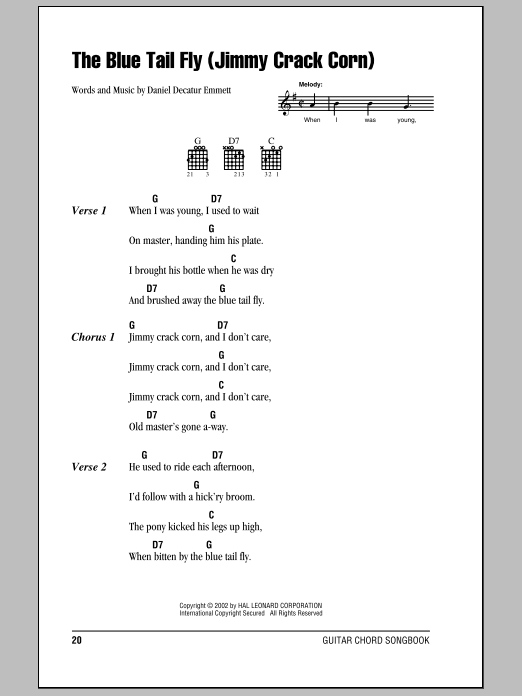 The Blue Tail Fly (Jimmy Crack Corn) sheet music for guitar solo (chords, lyrics, melody) by Daniel Decatur Emmett
