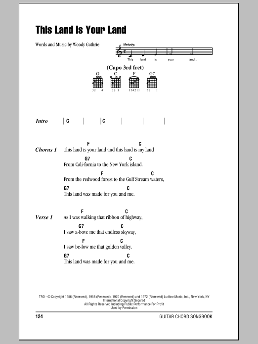 This Land Is Your Land sheet music for guitar solo (chords, lyrics, melody) by Woody Guthrie