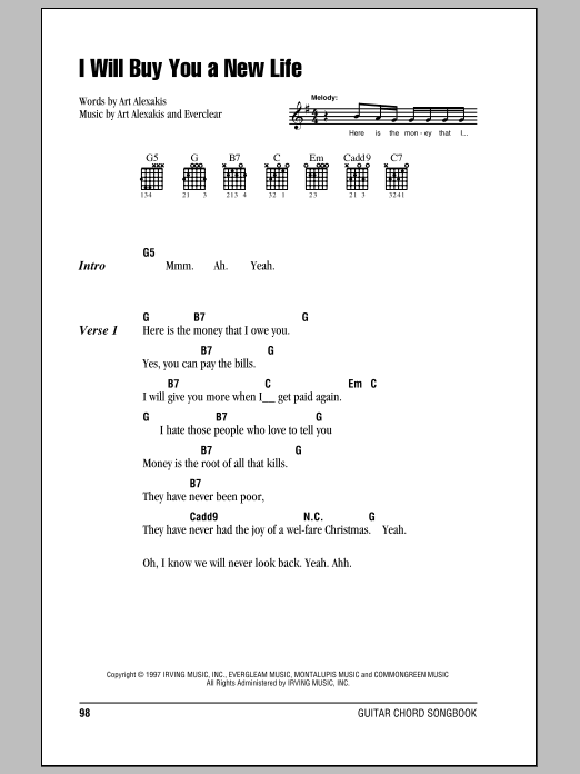 I Will Buy You A New Life sheet music for guitar solo (chords, lyrics, melody) by Art Alexakis