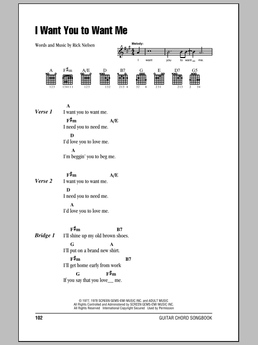 I Want You To Want Me sheet music for guitar solo (chords, lyrics, melody) by Rick Nielsen