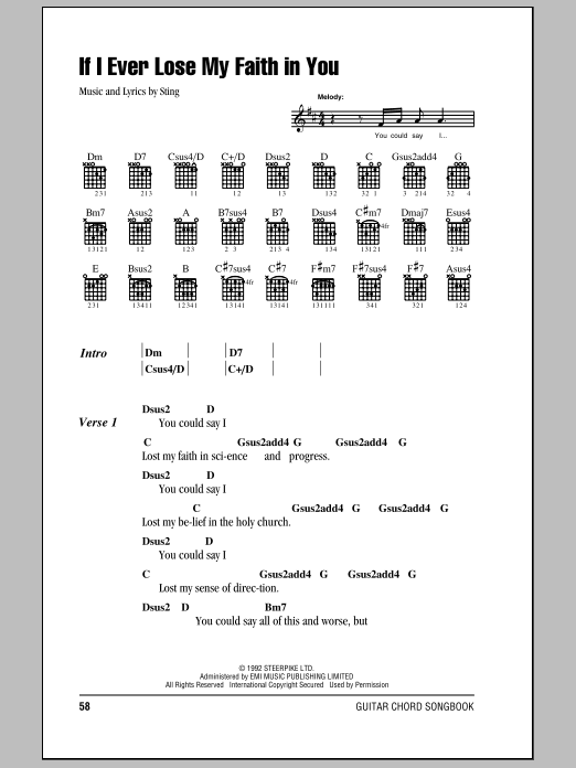 If I Ever Lose My Faith In You sheet music for guitar (chords, lyrics, melody) by Sting