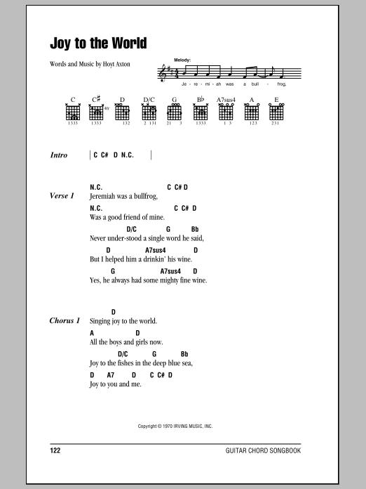 Joy To The World by Three Dog Night - Guitar Chords/Lyrics - Guitar Instructor