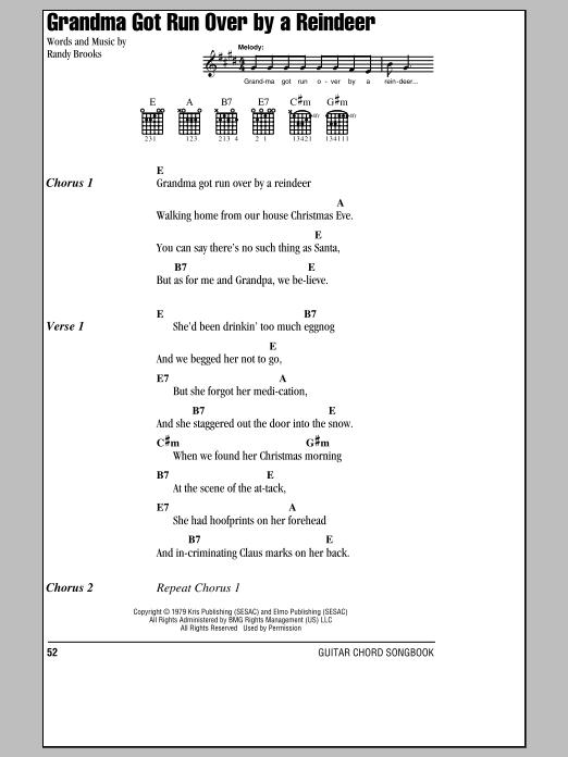 Randy Brooks: Grandma Got Run Over By A Reindeer - Lyrics & Chords ...