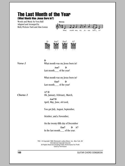 The Last Month Of The Year (What Month Was Jesus Born In?) sheet music for guitar solo (chords, lyrics, melody) by Ruby Pickens Tartt