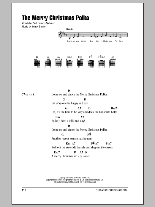 The Merry Christmas Polka sheet music for guitar solo (chords, lyrics, melody) by Sonny Burke