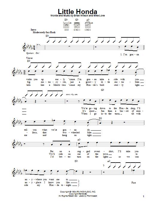 Tablature guitare Little Honda de The Beach Boys - Autre