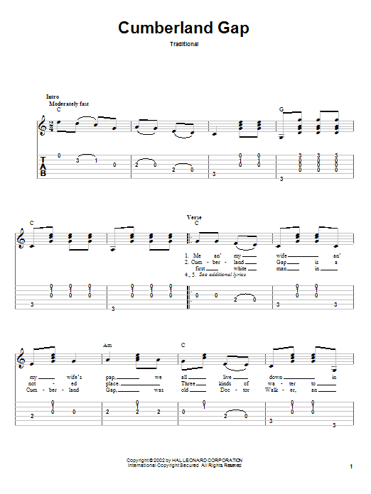 Cumberland Gap sheet music for guitar solo