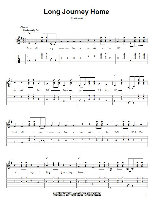 Tablature guitare Long Journey Home de Traditional - Tablature Guitare