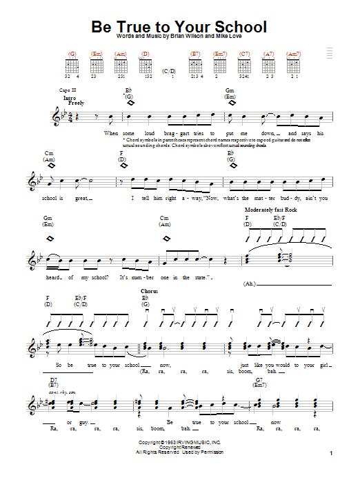 Tablature guitare Be True To Your School de The Beach Boys - Autre