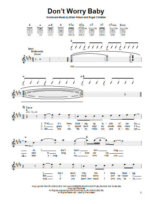 Tablature guitare Don't Worry Baby de The Beach Boys - Autre