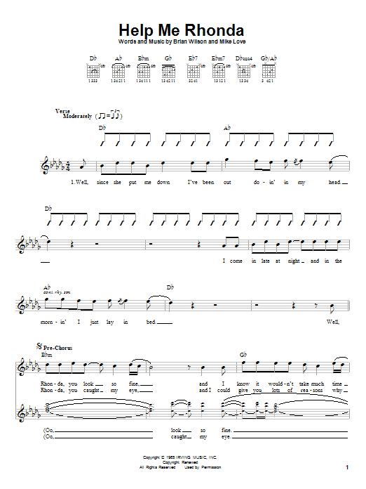 Tablature guitare Help Me Rhonda de The Beach Boys - Autre
