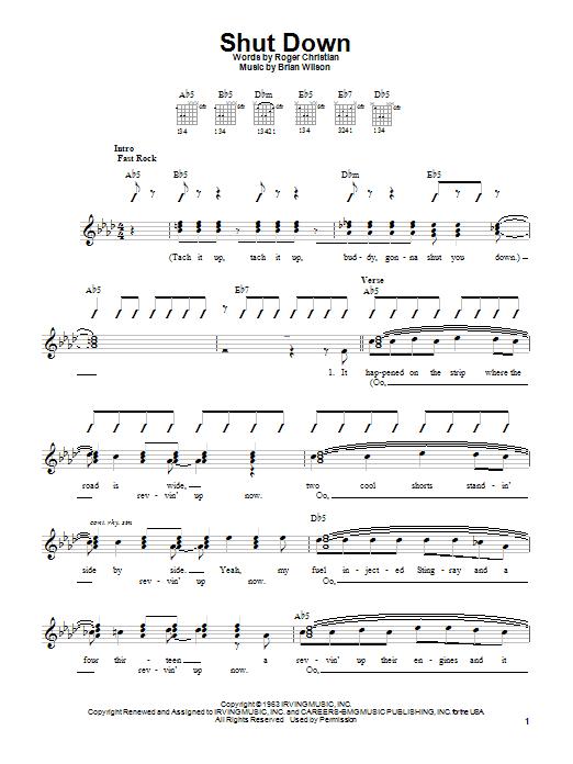 Tablature guitare Shut Down de The Beach Boys - Autre