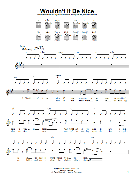 Tablature guitare Wouldn't It Be Nice de The Beach Boys - Autre