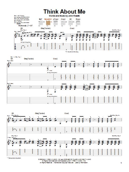 Tablature guitare Think About Me de Goo Goo Dolls - Tablature Guitare