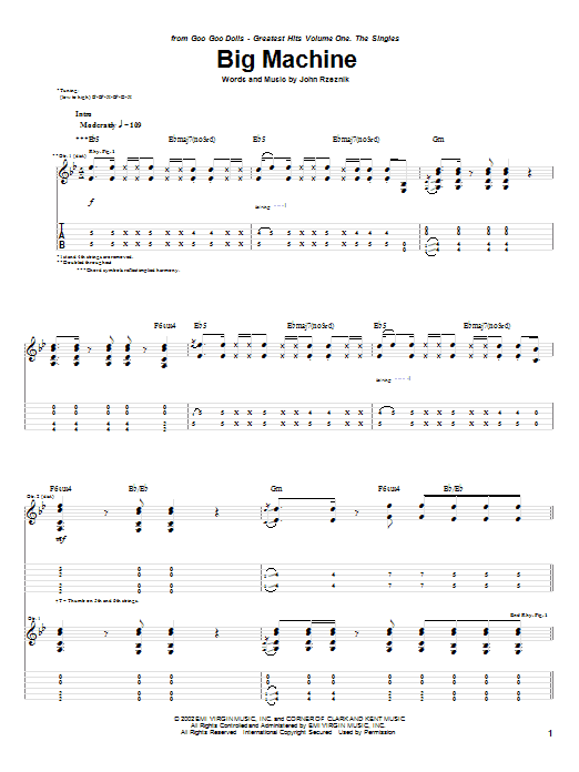 Tablature guitare Big Machine de Goo Goo Dolls - Tablature Guitare