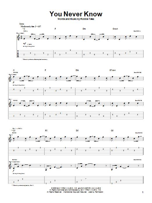 Tablature guitare You Never Know de Goo Goo Dolls - Tablature Guitare