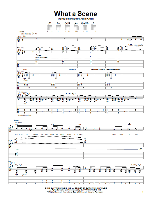 Tablature guitare What A Scene de Goo Goo Dolls - Tablature Guitare