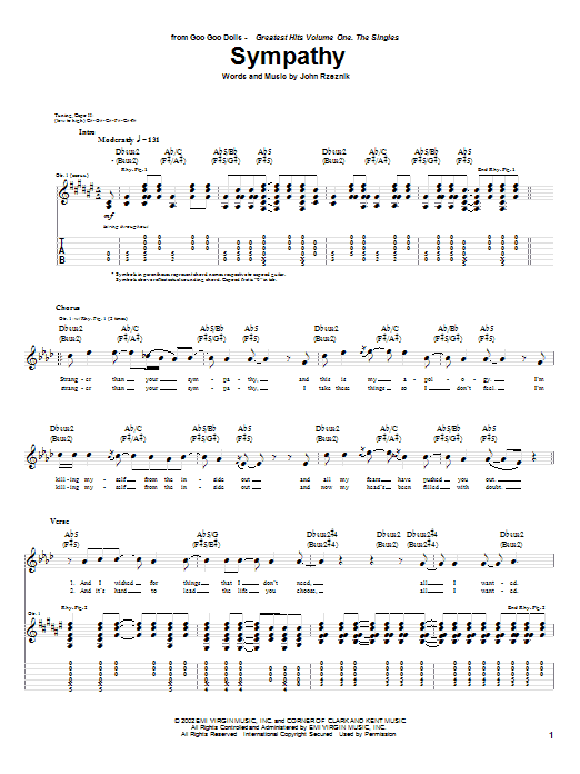 Sheet Music Digital Files To Print - Licensed John Rzeznik Digital ...