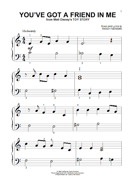 Sheet Music Digital Files To Print Licensed Toy Story Movie