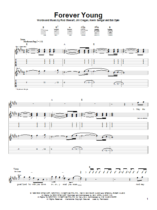 Tablature guitare Forever Young de Rod Stewart - Tablature Guitare