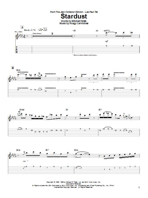 Tablature guitare Stardust de Artie Shaw - Tablature Guitare