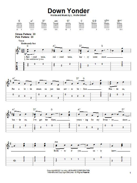 Tablature guitare Down Yonder de L. Wolfe Gilbert - Tablature guitare facile