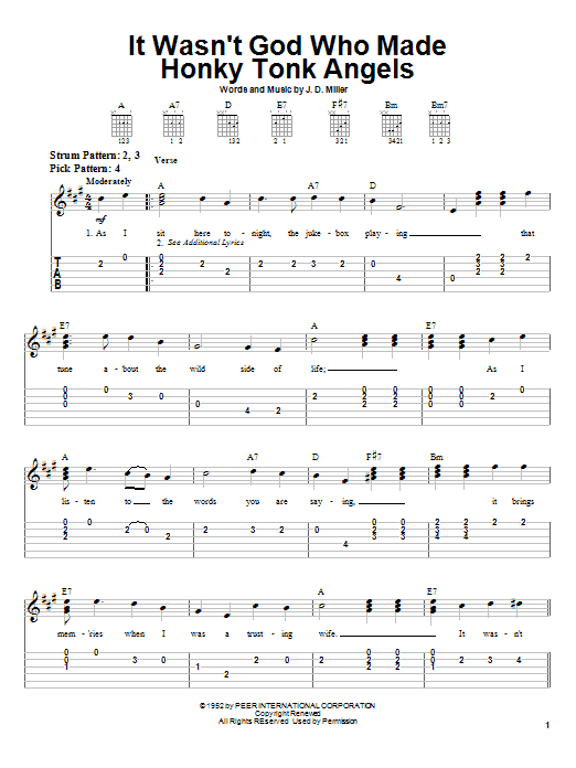 Tablature guitare It Wasn't God Who Made Honky Tonk Angels de Kitty Wells - Tablature guitare facile