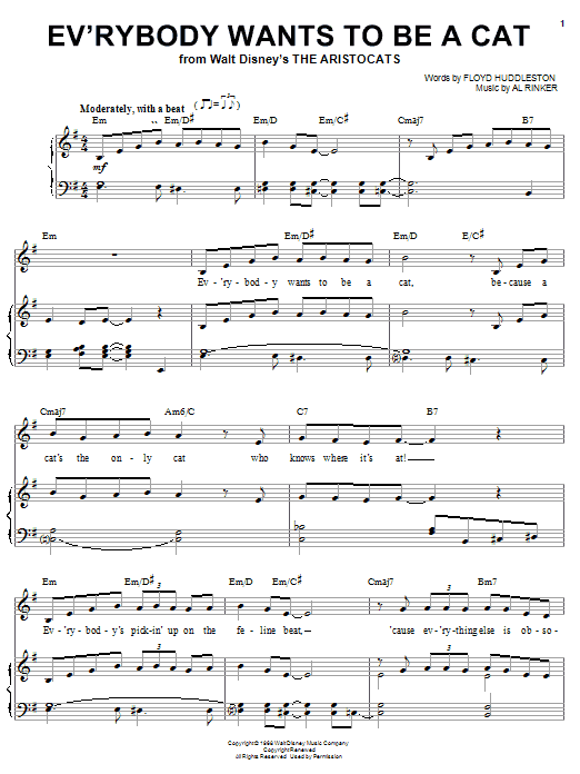 Partition piano Ev'rybody Wants To Be A Cat (from Walt Disney's The Aristocats) de Al Rinker - Piano Voix Guitare (Mélodie Main Droite)