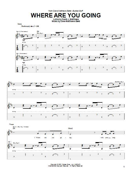 Tablature guitare Where Are You Going de Dave Matthews Band - Tablature Guitare