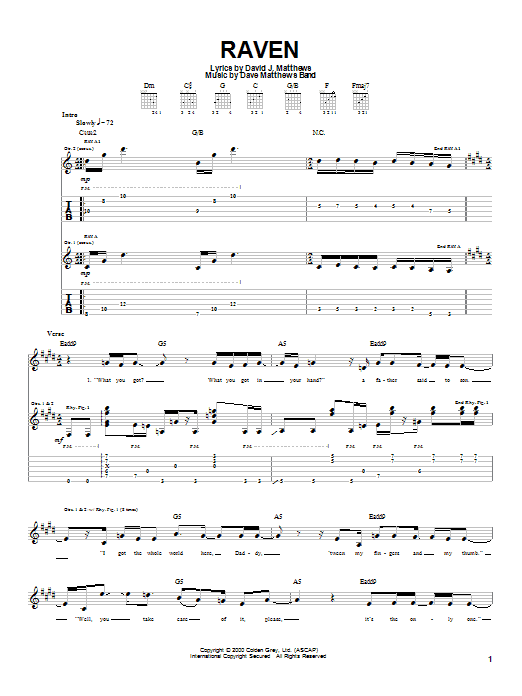 Tablature guitare Raven de Dave Matthews Band - Tablature Guitare