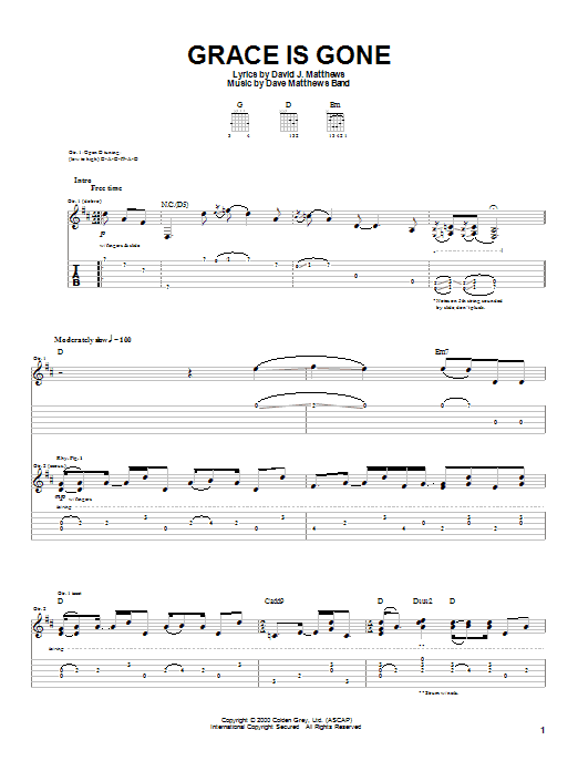 Tablature guitare Grace Is Gone de Dave Matthews Band - Tablature Guitare
