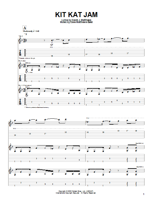Tablature guitare Kit Kat Jam de Dave Matthews Band - Tablature Guitare