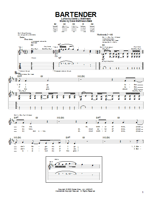 Tablature guitare Bartender de Dave Matthews Band - Tablature Guitare