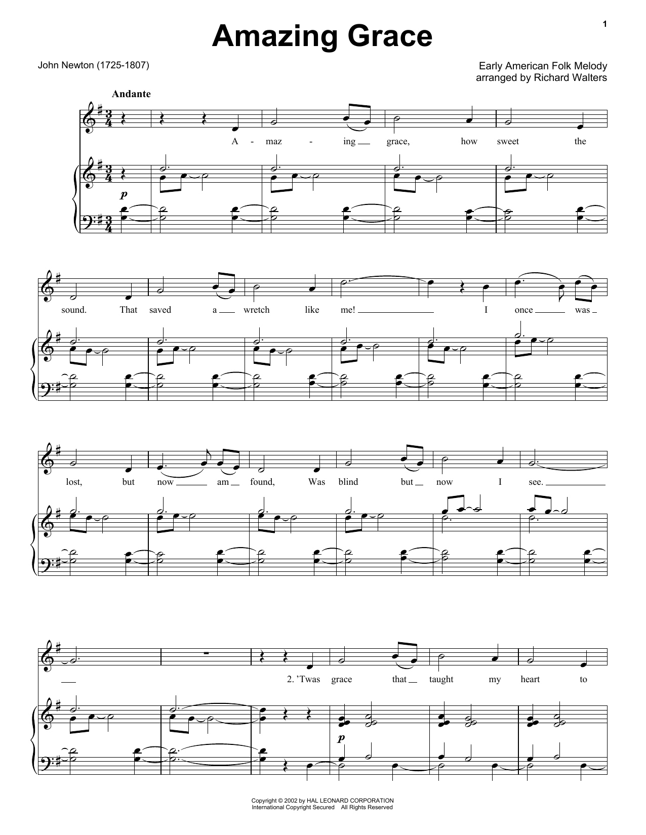 Partition piano Amazing Grace de Edwin O. Excell - Piano Facile