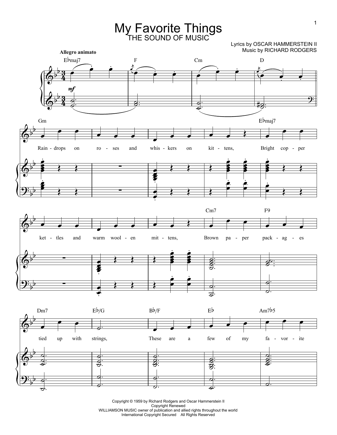 My Favorite Things sheet music for voice and piano by Richard Rodgers