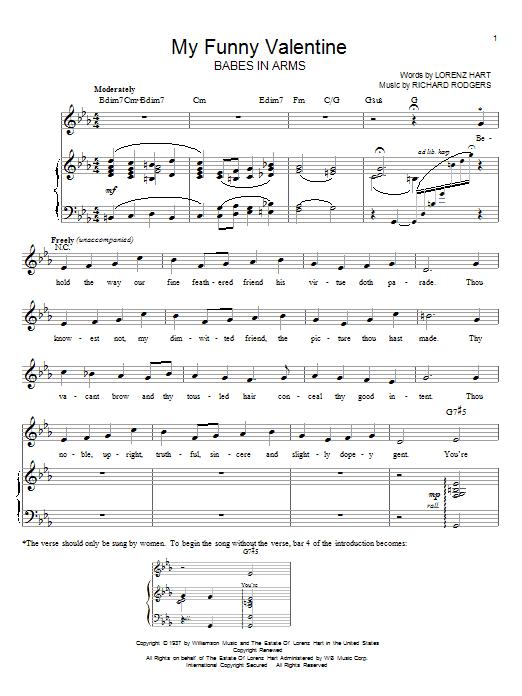Partition piano My Funny Valentine de Rodgers & Hart - Piano Voix Guitare (Mélodie Main Droite)