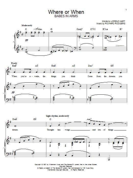 Partition piano Where Or When de Rodgers & Hart - Piano Voix Guitare (Mélodie Main Droite)