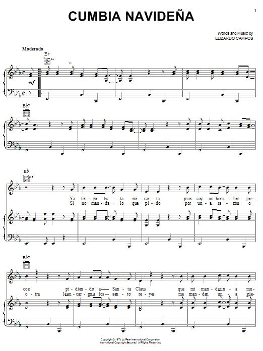 Cumbia Navideña sheet music for voice, piano or guitar by Elizardo Campos