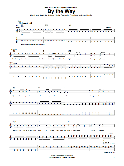 Tablature guitare By The Way de Red Hot Chili Peppers - Tablature Guitare