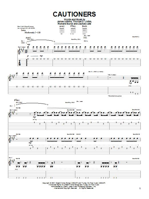 Tablature guitare Cautioners de Jimmy Eat World - Tablature Guitare