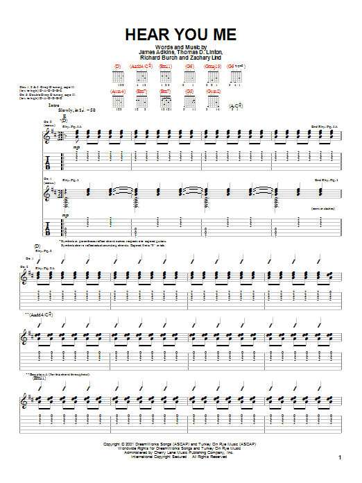 Tablature guitare Hear You Me de Jimmy Eat World - Tablature Guitare